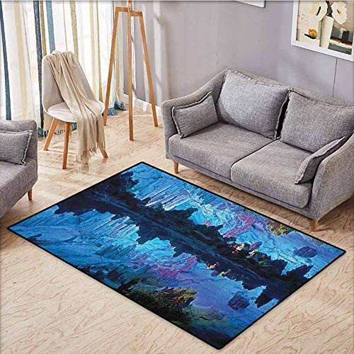 Outdoor Patio Rug,Natural Cave,Illuminated Reed Flute Cistern with Artifical Crystal Palace Myst Cave Image Print,Anti-Static, Water-Repellent Rugs,4'7