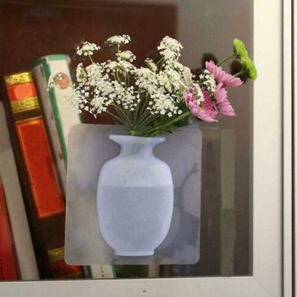 Tenture Murale Vase R/écipient Fleuron Bouteille Maison Etag/ère Adhesion Facile Installation Fleuron Bouteille 15 15 1.5CM Magique Caoutchouc Silicone Collant Vase Fleur Blanc
