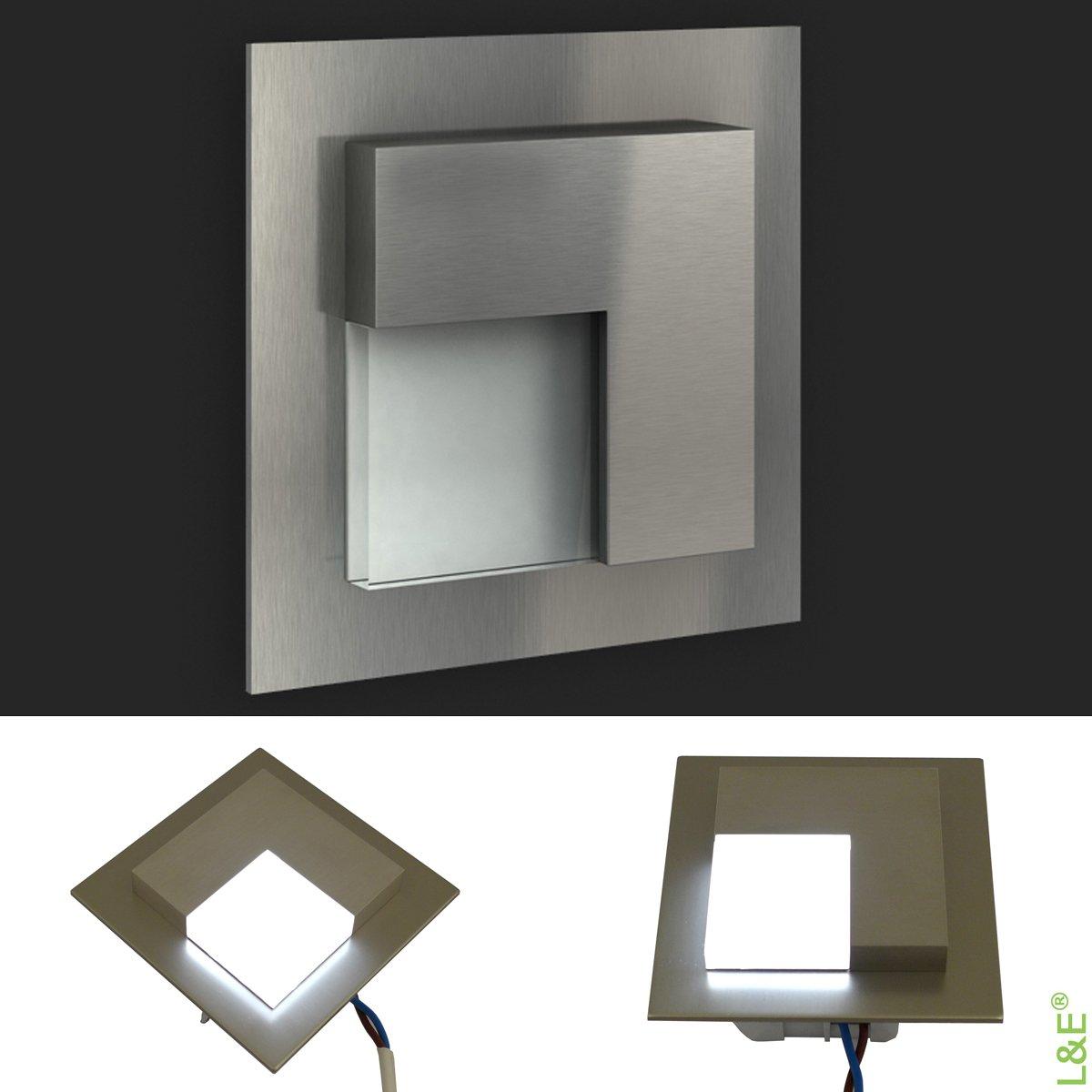 LEDIX LED Einbauleuchte 6x TIMO Edelstahl gebürstet. 230V 230V 230V Treppenbeleuchtung (1er bis 9er Set) Lichtfarbe  kaltweiss. Wandleuchte Treppenlicht. Passend für Ø 60 mm Unterputz Einbaudose (Installationsdose). BITTE WÄHLEN SIE DIE GEW&Uu c5ca72