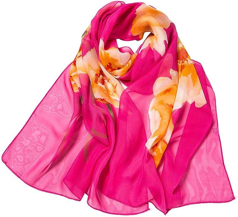1e2885644 Fashion Women Gradient Printing Wrap Scarf Lotus Print Soft Lightweight  Long Ultra-Thin Sunscreen Shawl Scarves at Amazon Women's Clothing store: