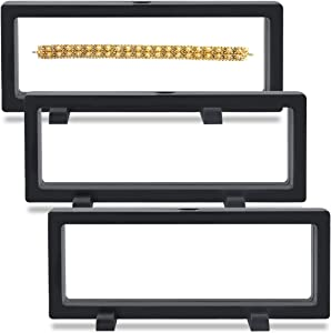 Coin Display Case 3 PCS 3D Display Frames with Stands Jewelry Display Case Suspending / Floating Effect Holder for Displaying Perls, Medals, Specimens and Challenge Coins (3 PCS Black, Rectangle)