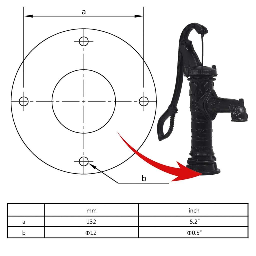 vidaXL Bomba de Agua de Jard/ín Manual de Hierro Fundido Jard/ín Terraza Riego