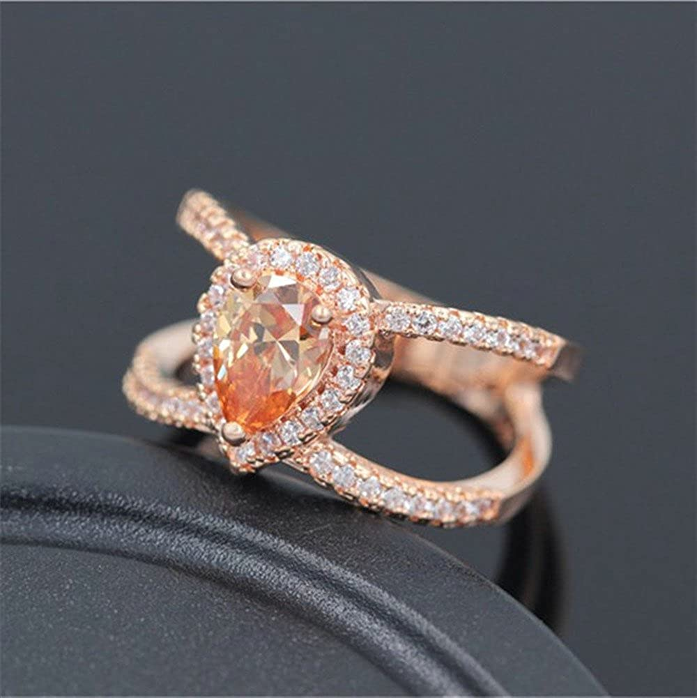 Uloveido Rose Gold Color 2 Row Hollow Yellow CZ Stone Rings Jewelry for Women Girls Size 6 Y120