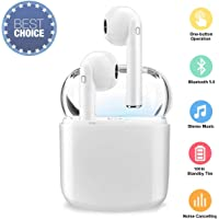 True Wireless Bluetooth Headphones,in-Ear 5.0 Wireless Earbuds Stereo Bluetooth Headset with Microphone Anti-Sweat Sports Earbuds,Earphones Compatible for Android/iPhone