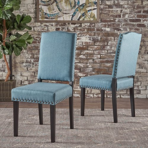 Cheap Christopher Knight Home 302023 Brunello  Armless Studded Blue Fabric Dining Chairs (Set Of 2), Blue And Dark Brown