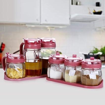 WCZ Cajas de plástico para condimentos, Cajas de condimentos de Vidrio, Botellas de vinagre