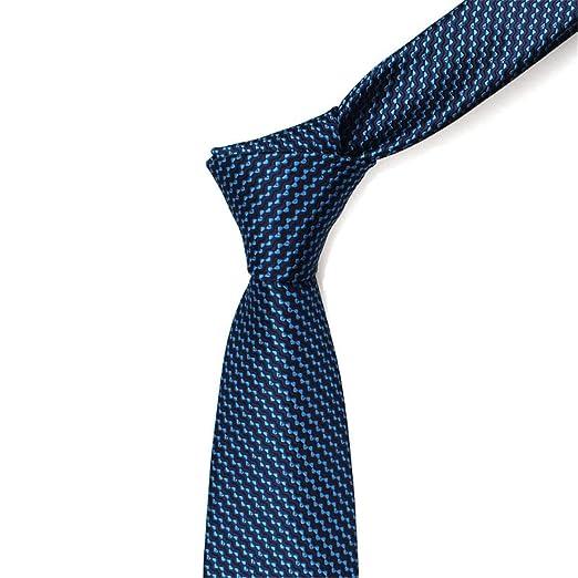 Yingsssq 7 cm Azul Marino Ripple Corbata diseño clásico 100% Seda ...