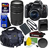 Canon EOS Rebel T6i Digital SLR Camera with EF-S 18-55 IS STM & EF 75-300mm III Zoom Lenses (International Version) + 32GB Accessory Kit w/HeroFiber Ultra Gentle Cleaning Cloth