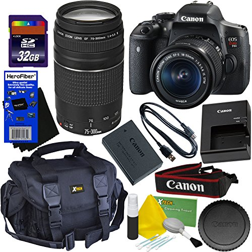 Canon EOS Rebel T6i Digital SLR Camera with EF-S 18-55 IS STM & EF 75-300mm III Zoom Lenses (International Version) + 32GB Accessory Kit w/HeroFiber Ultra Gentle Cleaning Cloth For Sale
