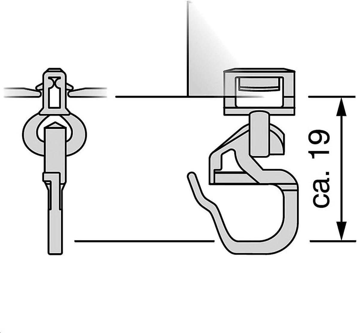 Kunststoff Gardinen Clic-Gleiter mit Faltenhaken kurz HINNO HC 91 f/ür Gardinenschienen aus Holz BZW