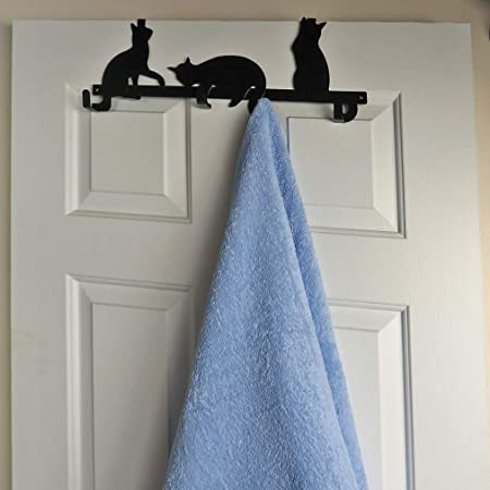 Evelots Cat Over Door Hanger/Rack-Coat/Towel/Purse-4 Strong Hooks-Sturdy Metal