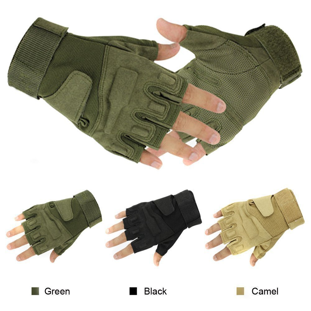 Men's Half-finger Fingerless Airsoft Hunting Riding Cycling Army Green Gloves