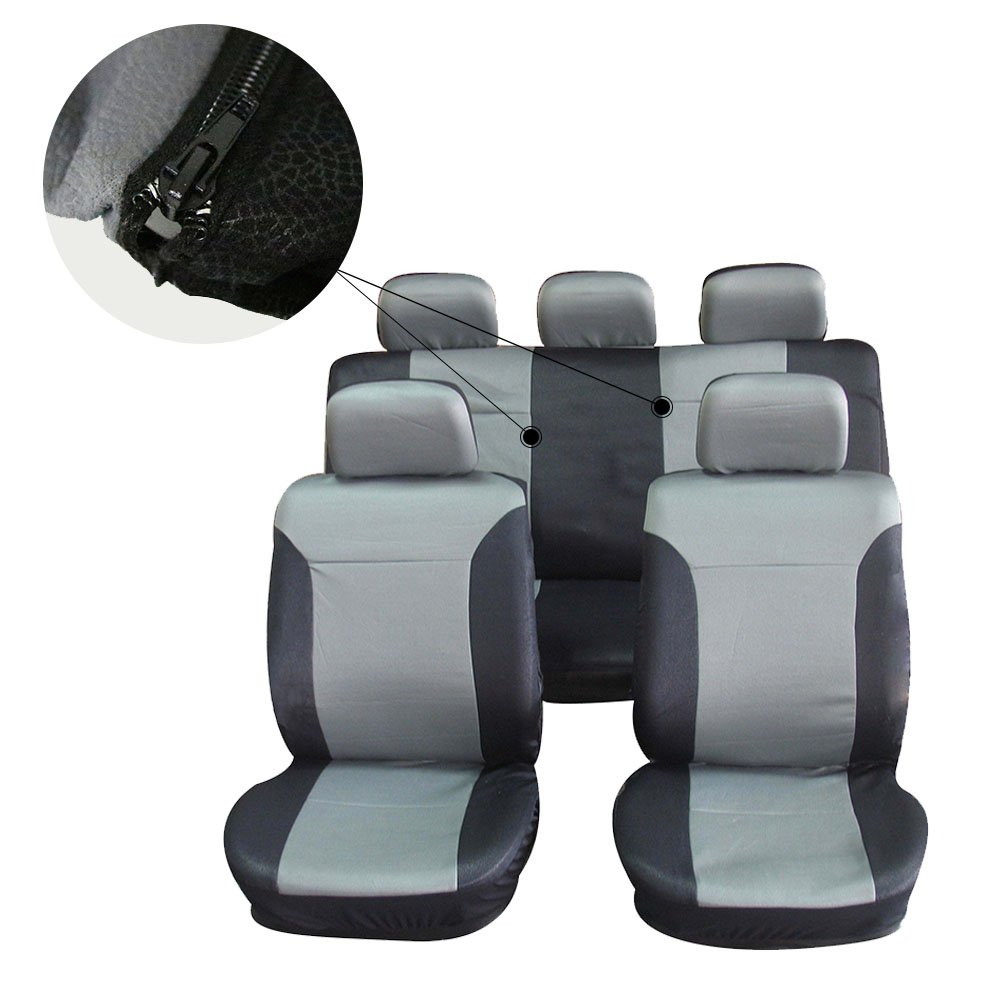 cciyu Seat Cover Universal Car Seat Cushion w//Headrest 100/% Breathable Car Seat Cover Washable Auto Covers Replacement fit for Most Cars Blue//Gray