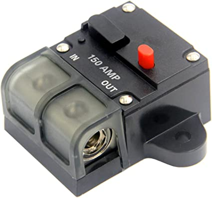 0-8 Gauge Wire Inline Fuse Block 12V 42V DC for Car Rv Marine Automotive Stereo Audio Electronic System Cllena 150 Amp Circuit Breaker with Manual Reset