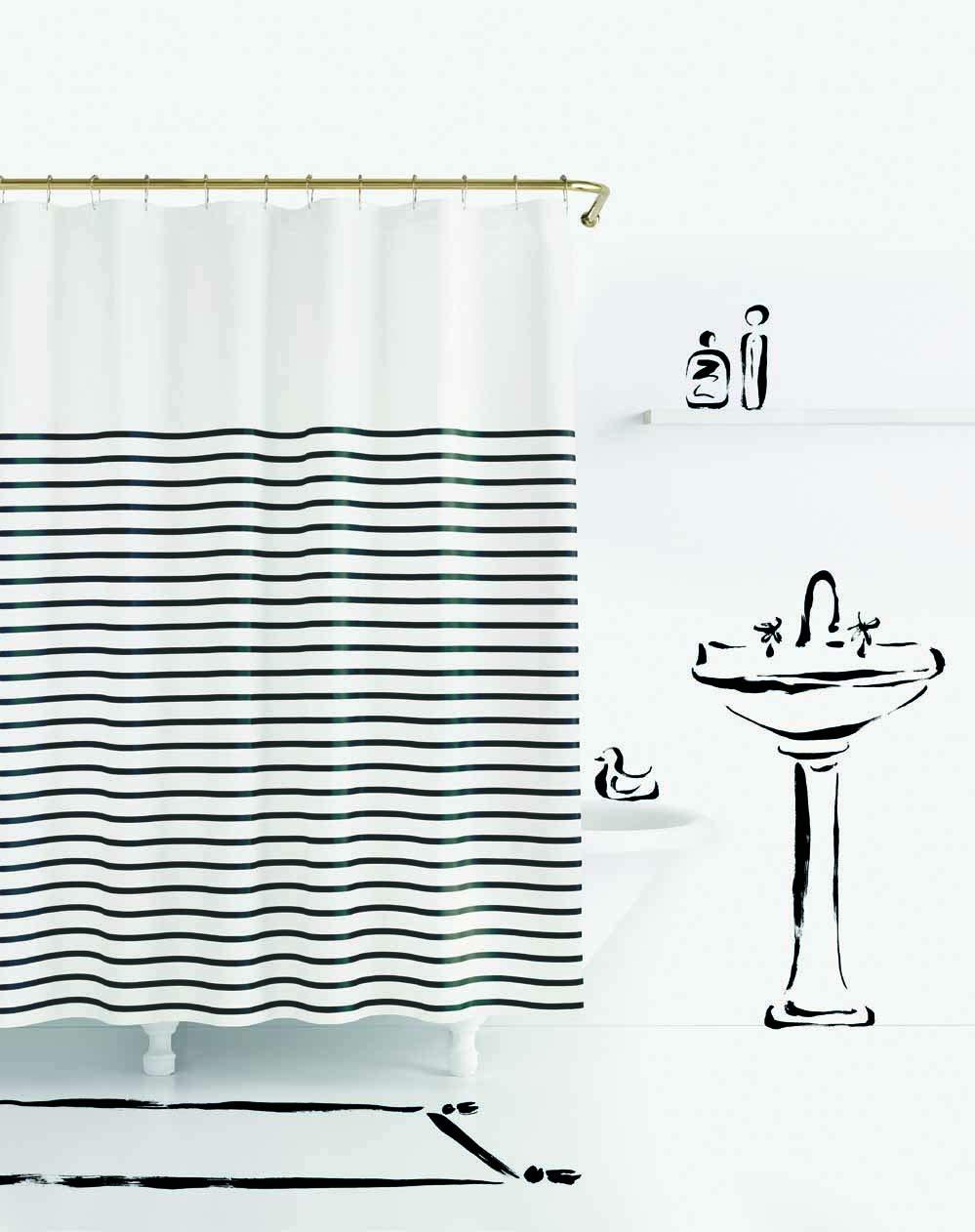 Kate Spade New York Harbour Stripe Black Shower Curtain,