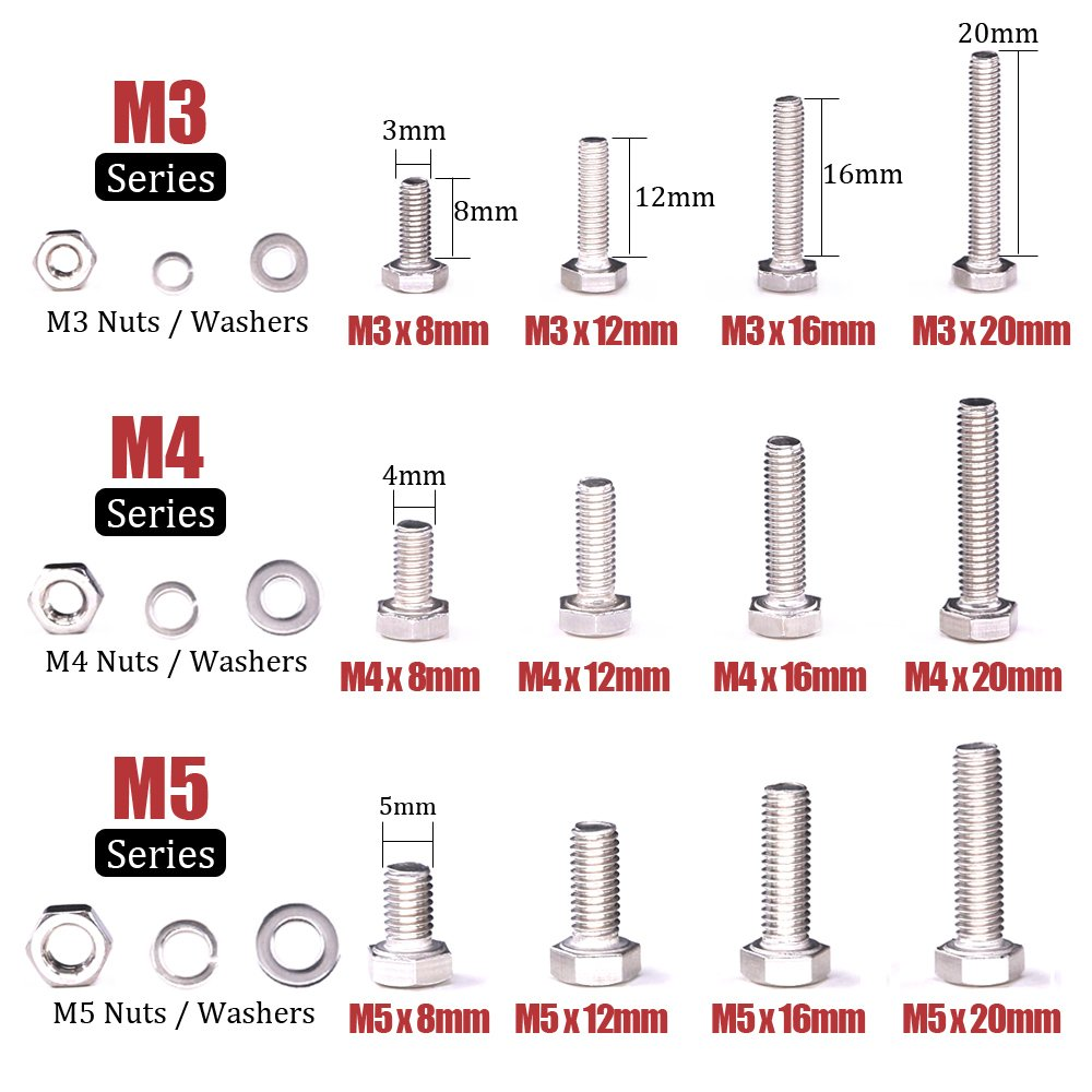 Hilitchi 705-Pcs M3 M4 M5 Hex Hexagon Head Cap Machine Screws Bolts Nuts Flat and Lock Washers Assortment Kit, 304 Stainless Steel, 8 to 20mm Length, Full Thread by Hilitchi (Image #2)