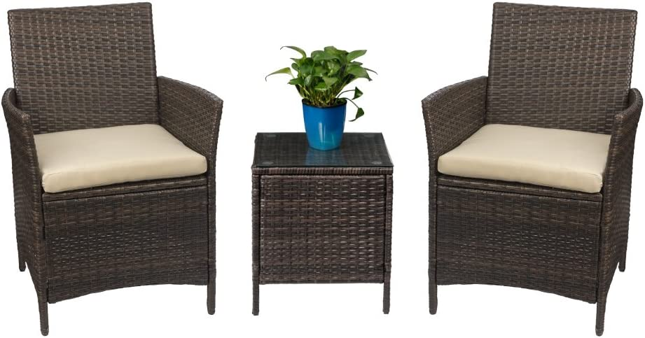 Devoko Patio Porch Furniture Sets 3 Pieces PE Rattan Wicker Chairs with Table Outdoor Garden Furniture Sets Brown Beige
