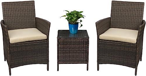 Devoko Patio Porch Furniture Sets 3 Pieces PE Rattan Wicker Chair