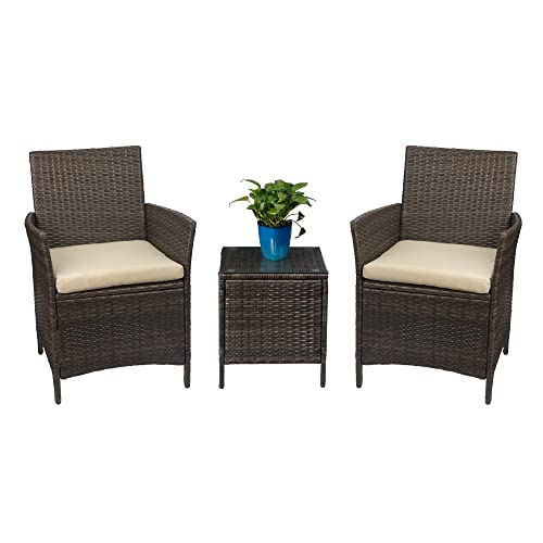 Beau Devoko Patio Porch Furniture Set 3 Piece PE Rattan Wicker Chairs Beige  Cushion With Table Outdoor