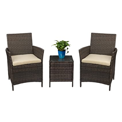 Amazon Com Devoko Patio Porch Furniture Sets 3 Pieces Pe Rattan