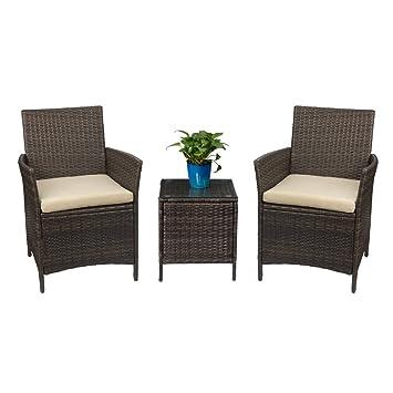 Amazon Com Devoko Patio Porch Furniture Sets 3 Pieces Pe Rattan