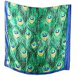 WSSROGY 1Pcs Women's Fashion Silk Scarf Peacock Feather Prints Wrap Shawls