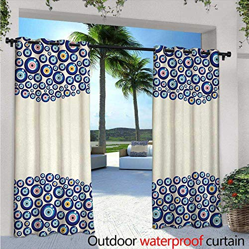 Evil Eye Outdoor Privacy Curtain for Pergola W96 x L96 Energetic Border Framework Design with All Seeing Eyes Good Luck Symbol Thermal Insulated Water Repellent Drape for Balcony Blue Pink ()