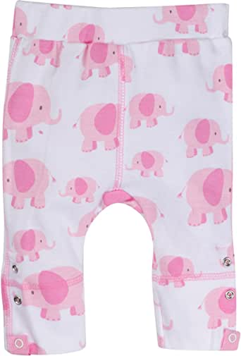 MiracleWear Expandable / Adjustable Snap-N-Grow 100% Cotton Pants by Miracle Blanket (6-12 Month, Pink Elephant)