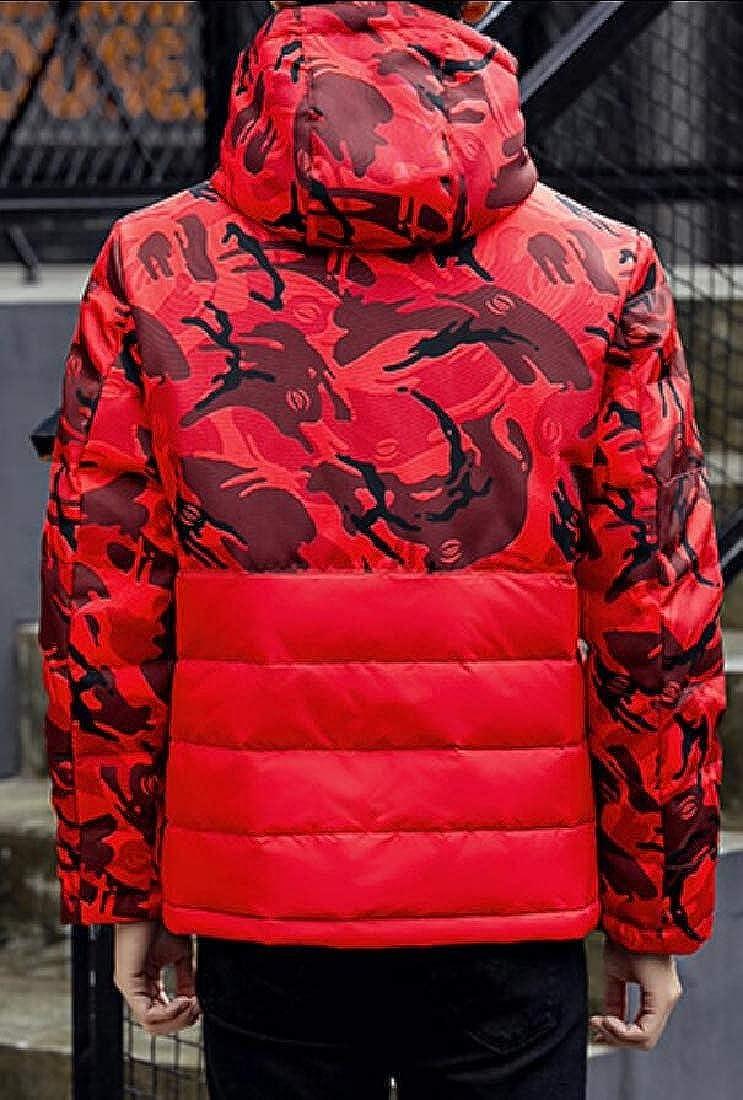 WSPLYSPJY Mens Jacket Hooded Down Jacket Overcoat Outwear Camouflage Zipper Coat
