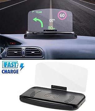 GLEYDY 10W Cargador de Coche Inalámbrico Head-Up Display GPS ...