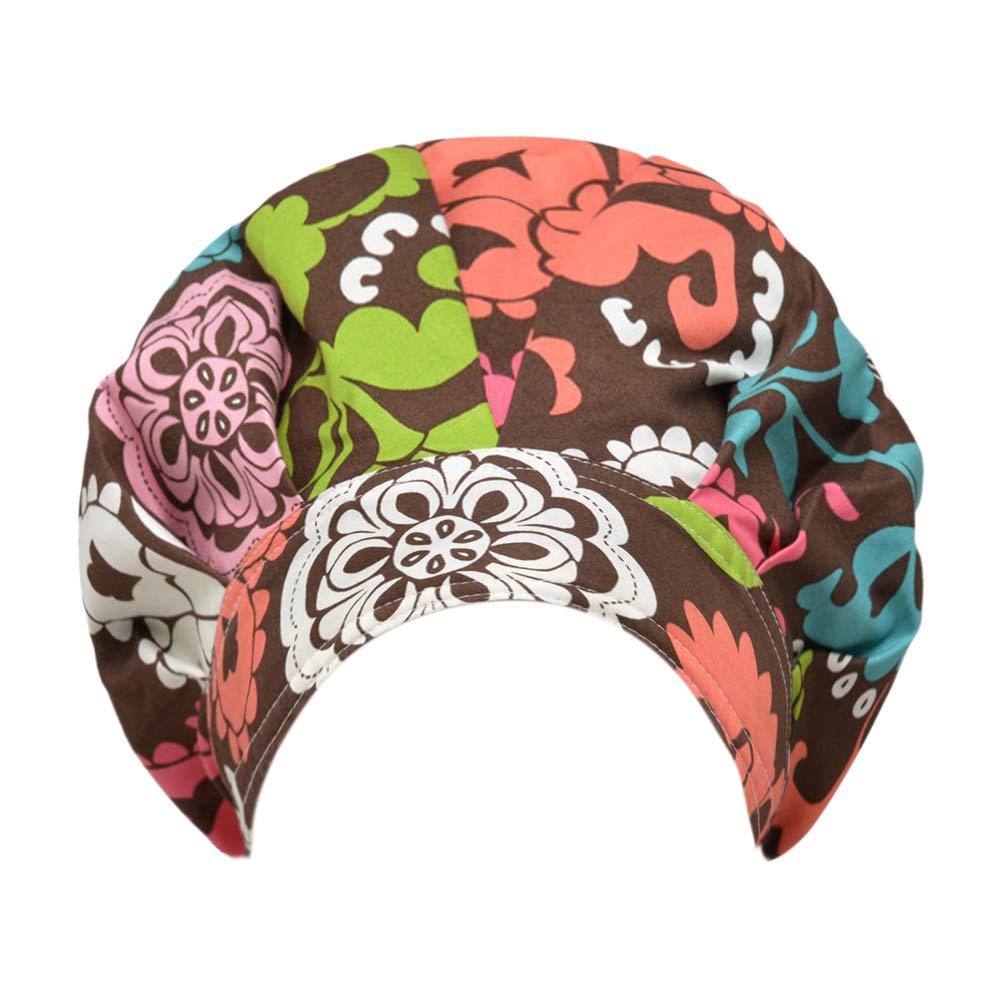 Opromo Cotton Bleach Friendly Banded Adjustable Scrub Cap Sweatband Bouffant Hat-Brown Darmask
