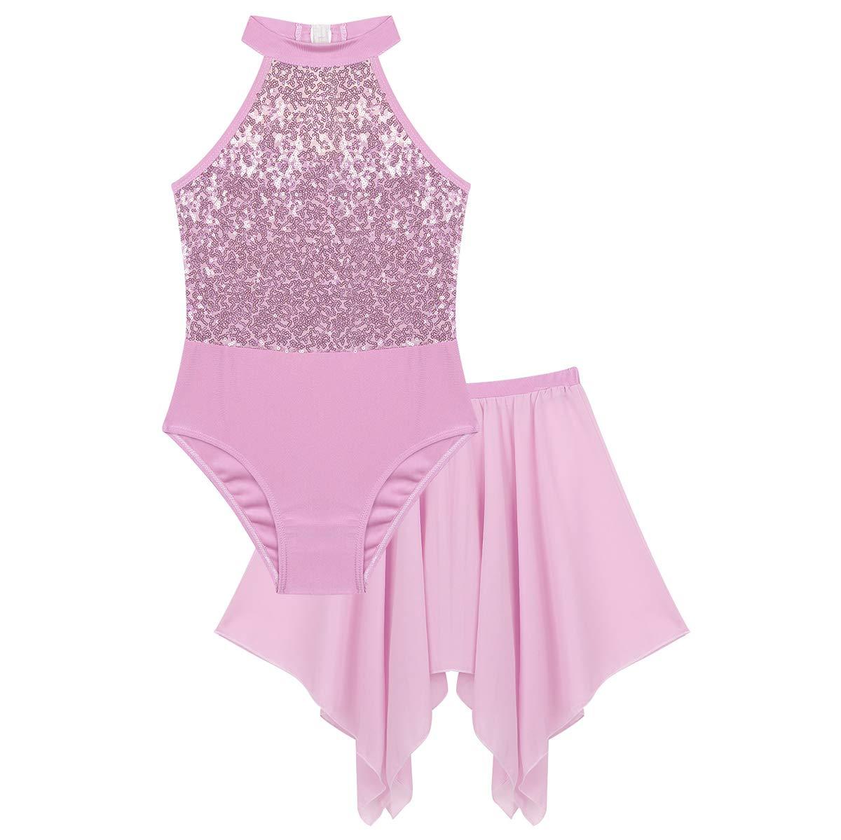 Alvivi Kids Girls 2PCS Shiny Sequin Halter Ballet Dance Outfit Halter Sleeveless Leotard with Chiffon Irregular Skirt Set