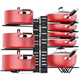 Pan Organizer Rack for Cabinet, Pot Rack with 3 DIY Methods, Adjustable Pot and Pan Organizer with 8 Tiers, Large & Small Pot
