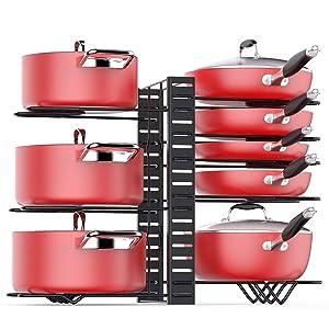 Pan Organizer Rack for Cabinet, Pots Pans Organizer Rack with 3 DIY Methods, Adjustable Kitchen Pan Pot Storage Organizer, 8 Metal Shelves with Anti-slip Layer