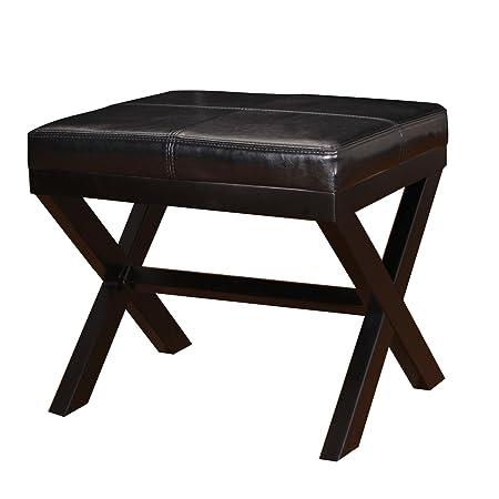 Joveco Ottoman Footrest Stool Small PU Leather Square Footstool X-Shape Black
