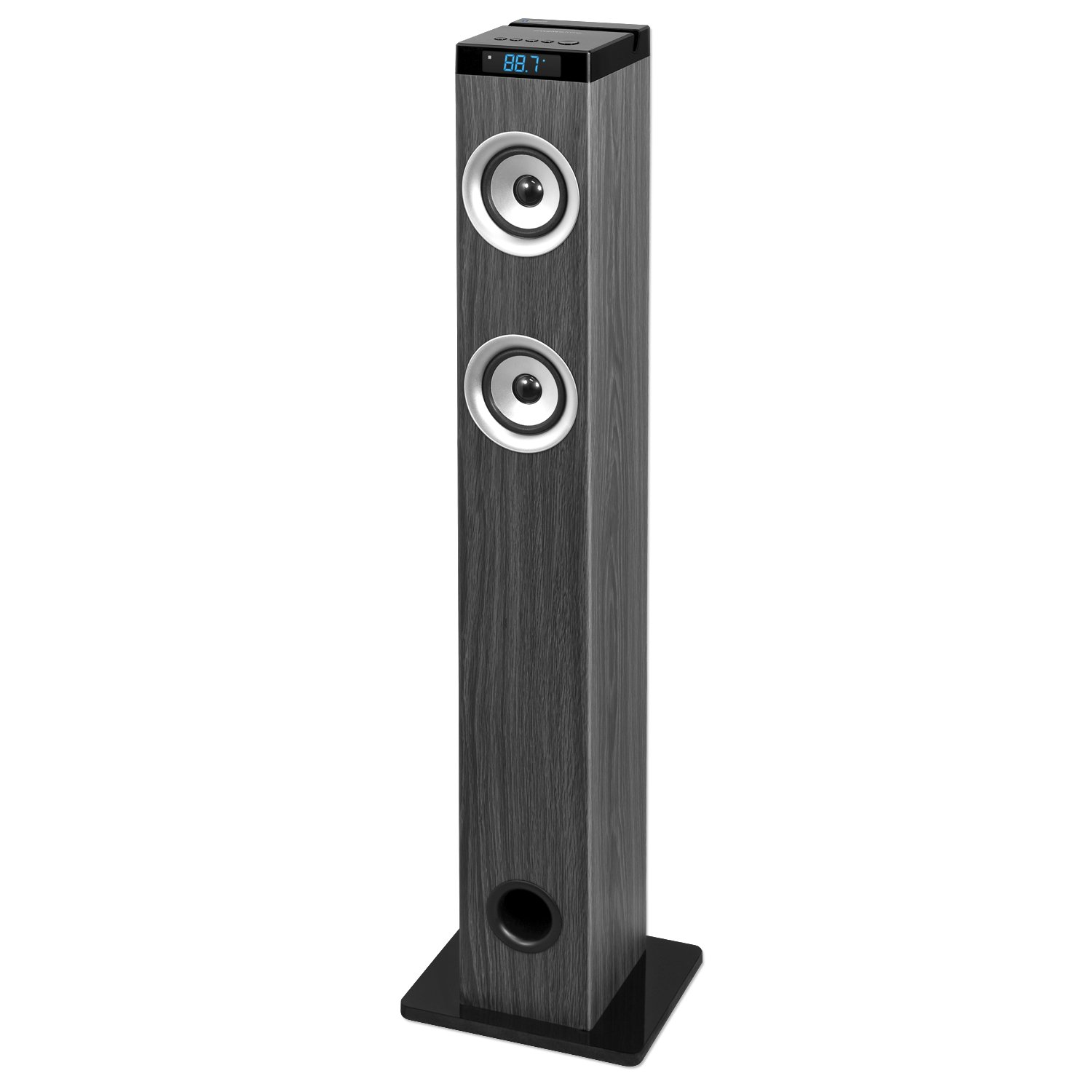 Innovative Technology 40-in Tall Tower Bluetooth Stereo System with Wood Finish, Gray Wood Grain by Innovative Technology