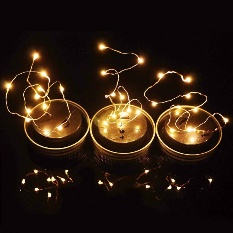 2M 20pc Solar Einmachglas Deckel einf/ügen Farbwechsel Garten Dekor Innen//Au/ßen Deko Hochzeit Party Halloween Weihnachten Haus Deko String Lights Gelb FeiliandaJJ Lichterkette