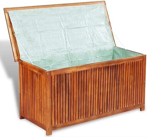 Festnight Media Wave Store Baúl de jardín Exterior de Madera Maciza de Acacia, Baúl Caja de jardín, Baúl Caja de Exterior 117 x 50 x 58 cm: Amazon.es: Hogar