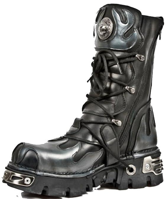 M-195-S2 New Rock Silver Bat Flame Reactor Boots: Amazon.co.uk: Shoes & Bags