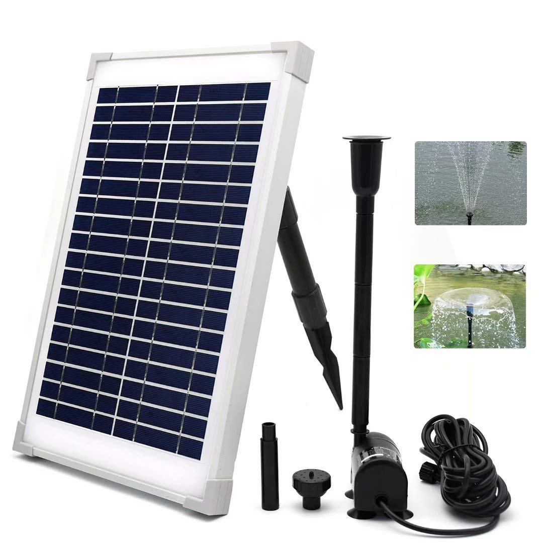 ECO-WORTHY Solar Fountain Water Pump Kit 10W Solar Panel and 160 GPH Brushless Submersible Powered Pump for Garden Decoration Solar Aerator Pump, Waterfall, Pond Aeration, Aquarium,(NO Battery Backup) by ECO-WORTHY