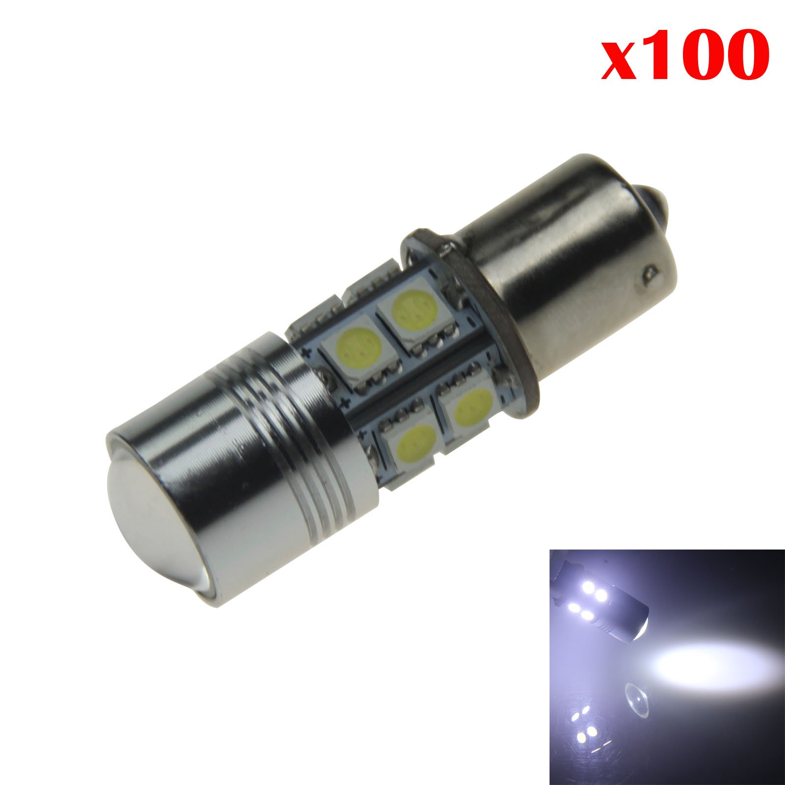 ZHANSHENZHEN White Car 1156 Camper Light Parking Blub 10 x 5050 SMD + 1 CREE LED 11 Emitters DC 12V 1259 #67 P21W Z20687 (Pack of 100)