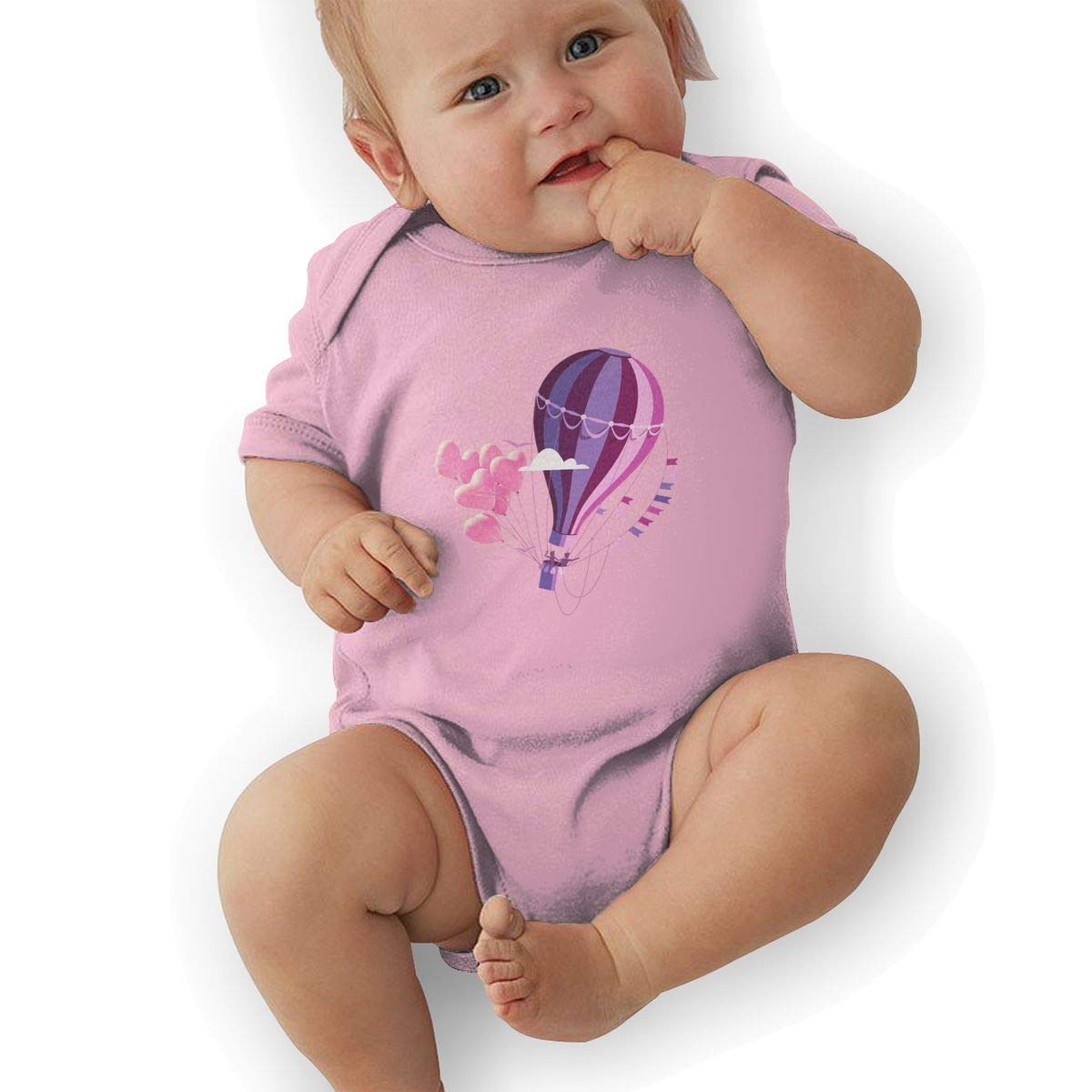 Newborn Baby Girls Bodysuit Short-Sleeve Onesie Hot Air Balloon Print Jumpsuit Autumn Pajamas