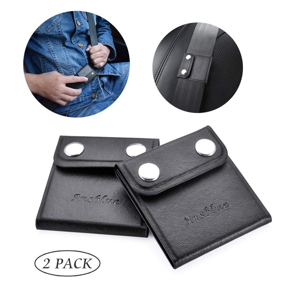 Ansblue Seat Belt Adjuster, Automotive Belt Strap Safety Shoulder Neck Universal Comfort Positioner Locking Clips Logo- Black
