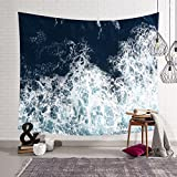 HYSENM Blue Ocean Waves Tapestry Sea Sunset Wall Hanging Art Décor for Bathroom Children's Room, Navy 59x51 Inches