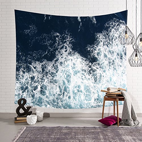 HYSENM Blue Ocean Waves Tapestry Sea Sunset Wall Hanging Art Décor for Bathroom Children