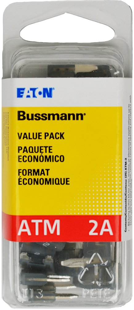 Pack of 25 Yellow 2 Amp Fast Acting ATM Mini Fuse, VP//ATM-2-RP Bussmann