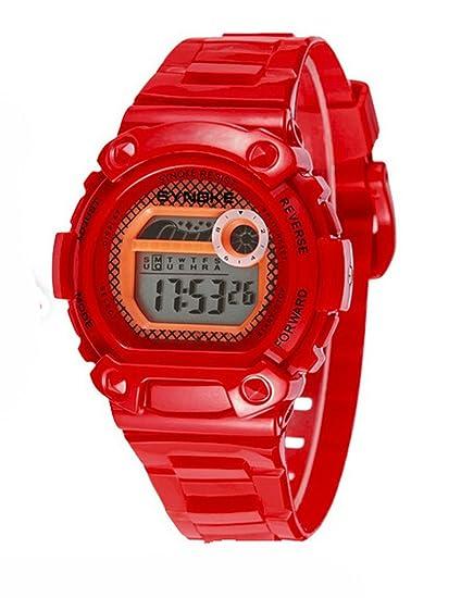 Impermeable reloj digital Natación UV400 Deportes Electrónicos watchesfor 5 - 15 años Niños Color Rojo: Amazon.es: Relojes
