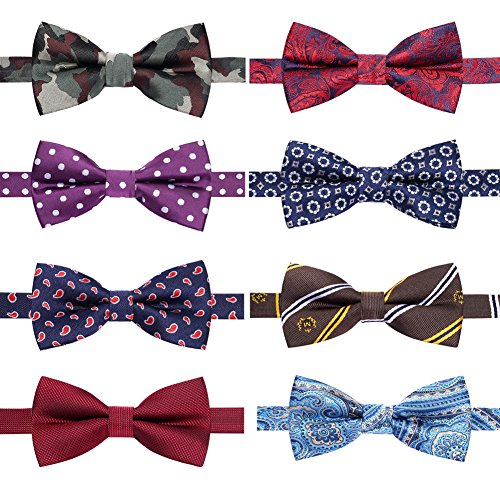 AUSKY 8 PACKS Elegant Adjustable Pre-tied bow ties for Men Boys in Different Colors (M) ()