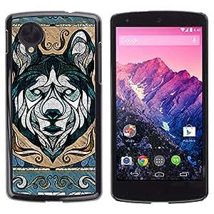 CASETOPIA / Wolf Illustration / LG Google Nexus 5 D820 D821 / Prima Delgada SLIM Casa Carcasa Funda Case Bandera Cover Armor Shell PC / Aliminium