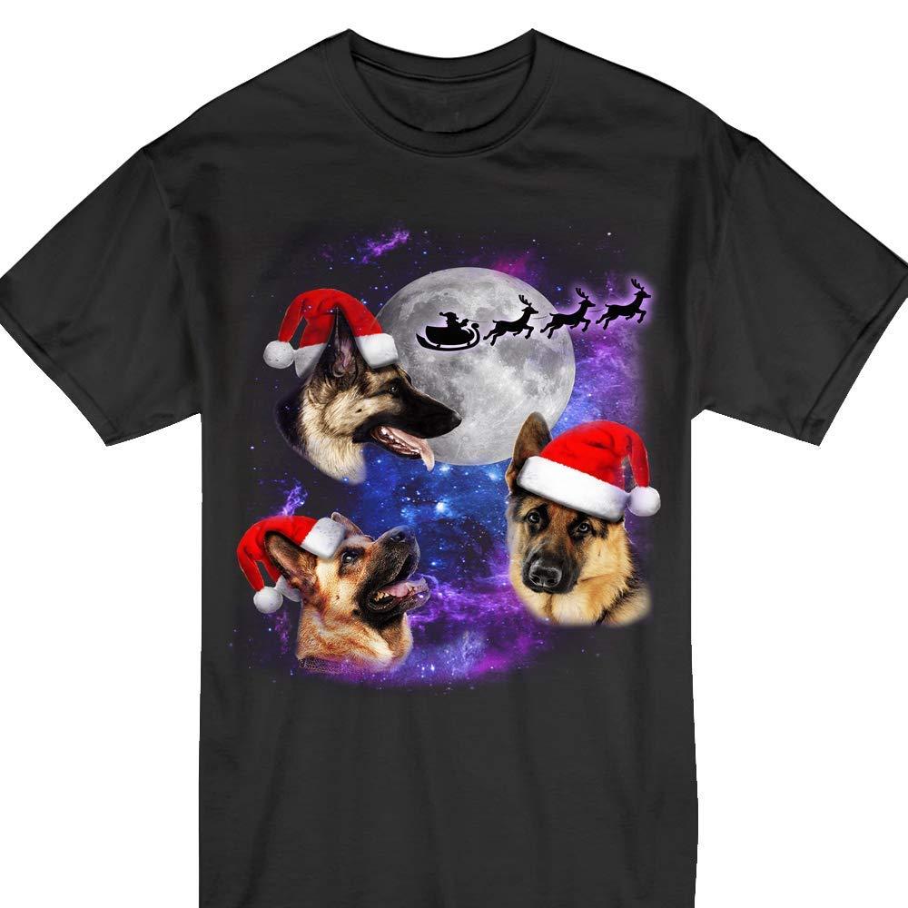 Three German Shepherd Moon Christmas Santa Three Dogs Funny Tshirt
